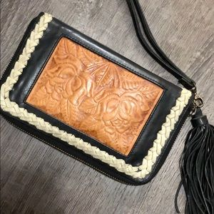 Black and Tan Leather Western Wallet Wristlet